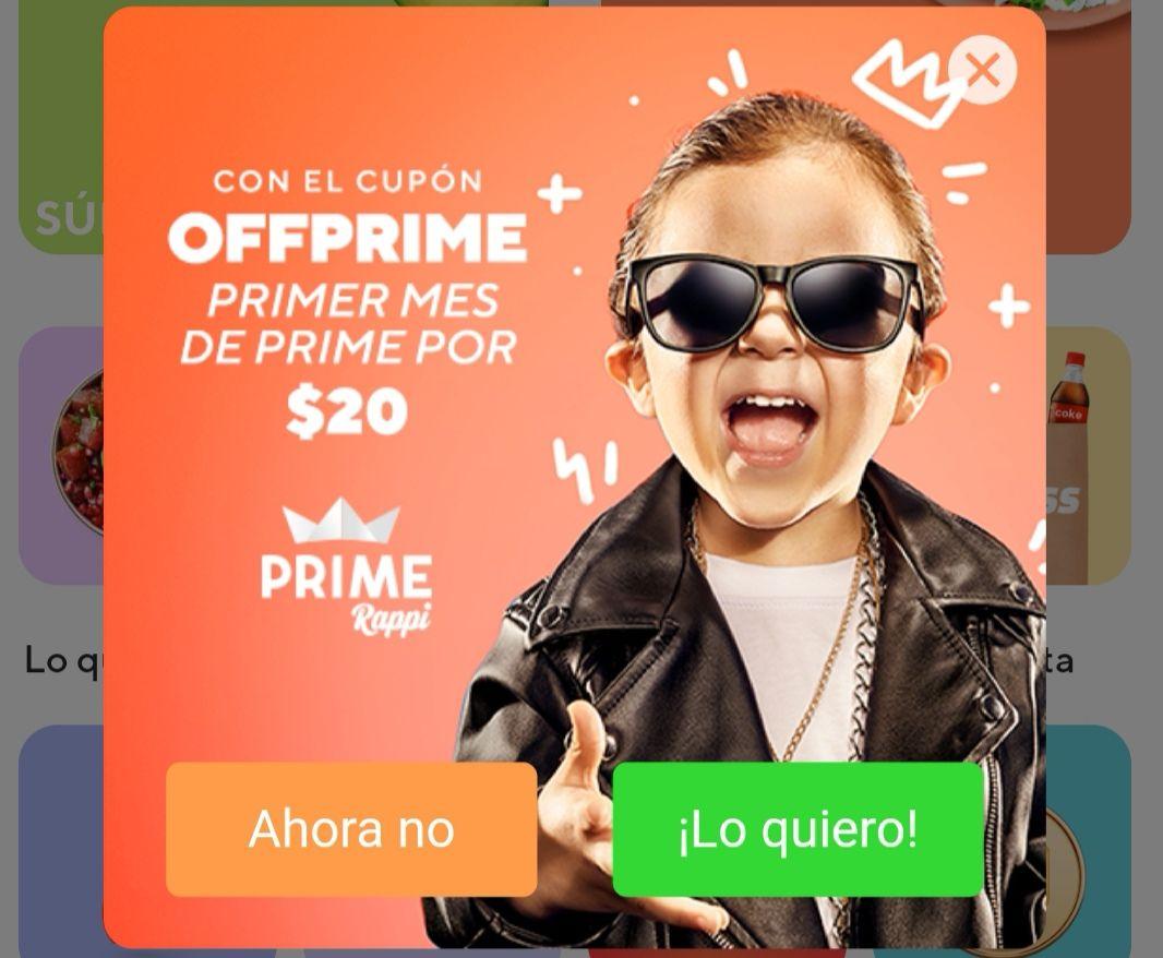 RAPPI: 1 MES DE PRIME POR $20