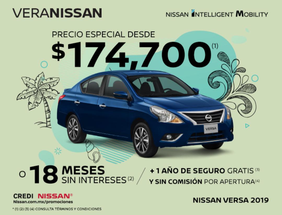 Nissan: Versa 2019 DESDE $174,700 o 18 MSI + 1 año de seguro gratis + 0% de comisión por apertura