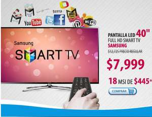 "Famsa: Smart TV LED Samsung de 40"" $6,999 y hasta 18 MSI"