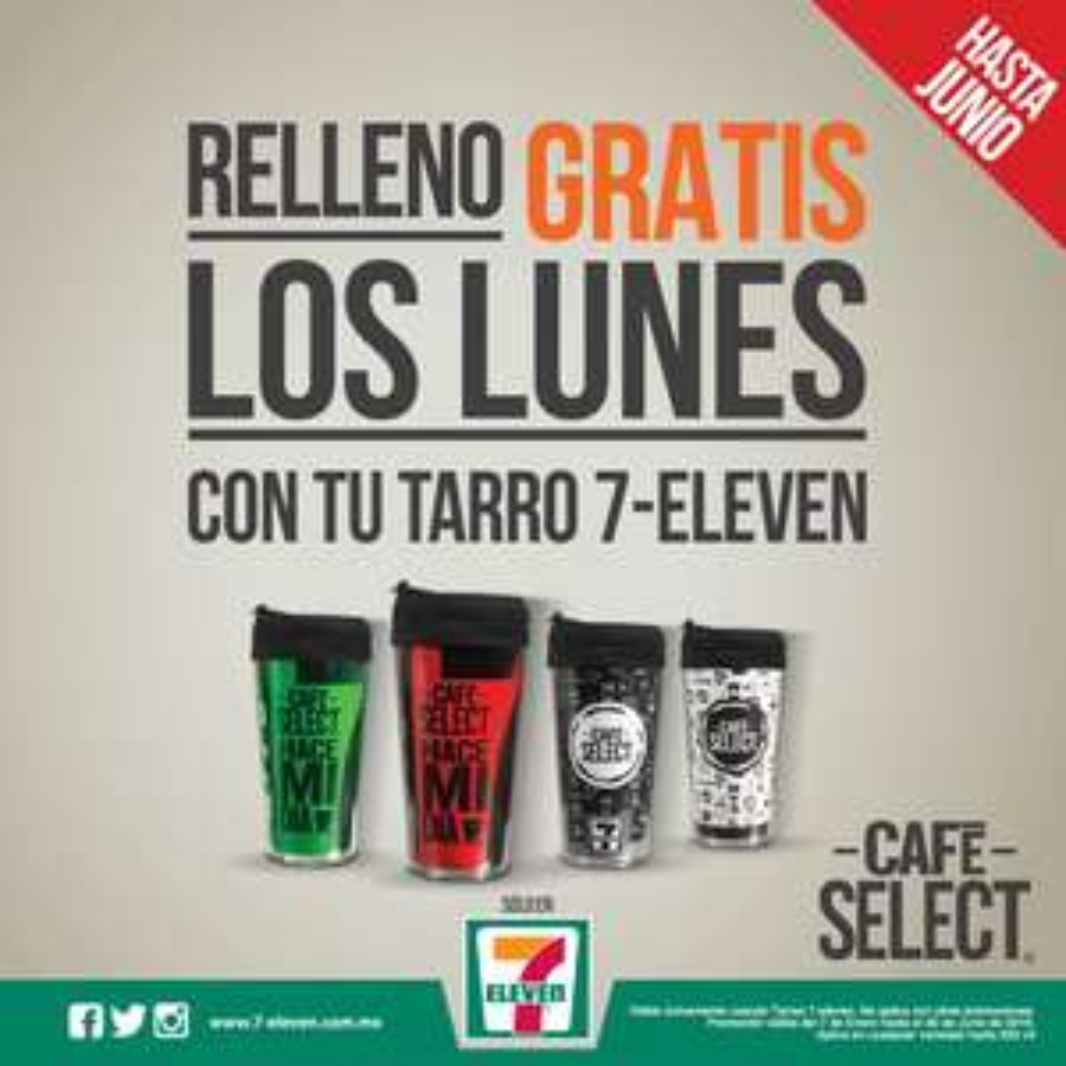 7-Eleven: Relleno gratis de tus Tarros de café todos los Lunes.