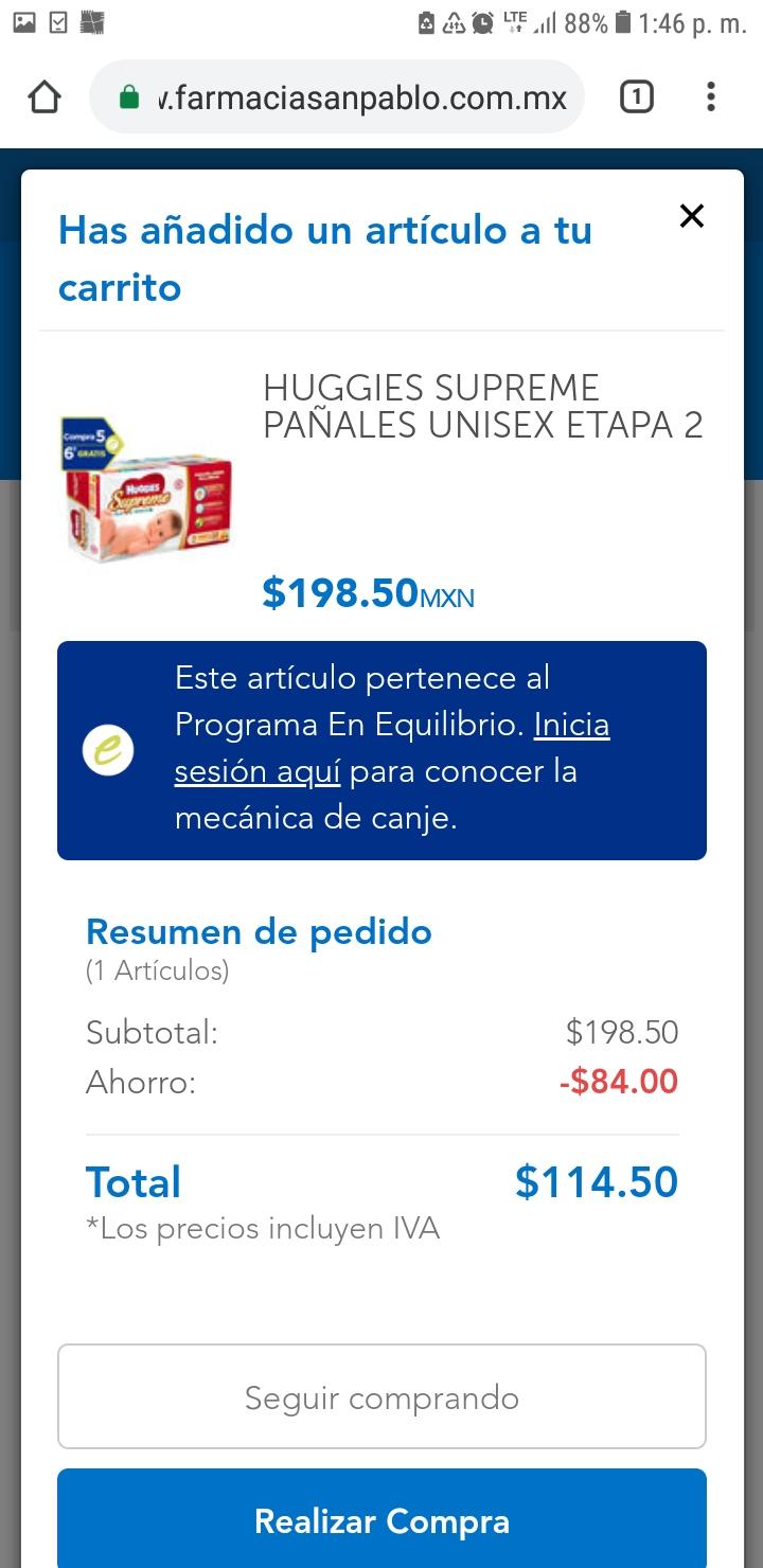 Farmacias San pablo: huggies suprime a 114.50  etapa 2 y RN (con el programa de equilibrio a $95.41)