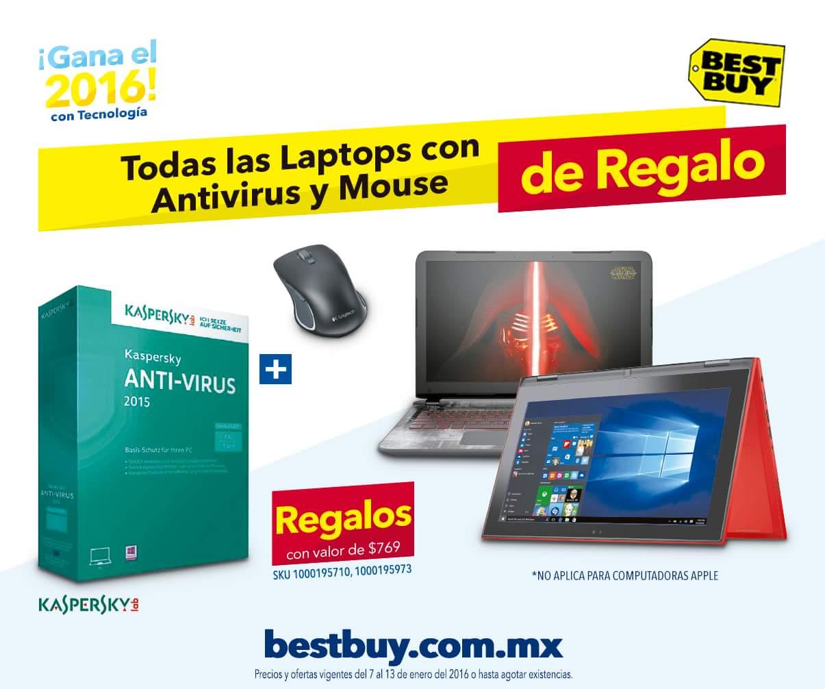 Best Buy: antivirus y mouse de regalo en todas las laptops (excepto Apple)