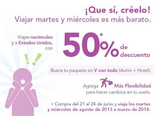 Volaris: 50% de descuento los martes y miércoles de agosto a marzo