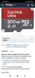 Amazon: micro SD Sandisk 200 gb a1