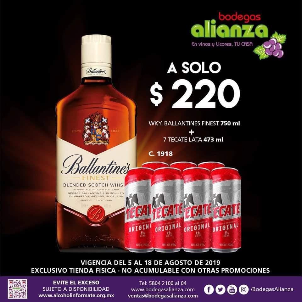 Bodegas Alianza: Whisky Ballantines + 7 Tecate Lata