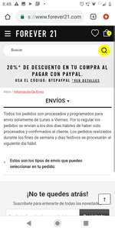 Forever21: 20% DESC. PAGO CON PAYPAL