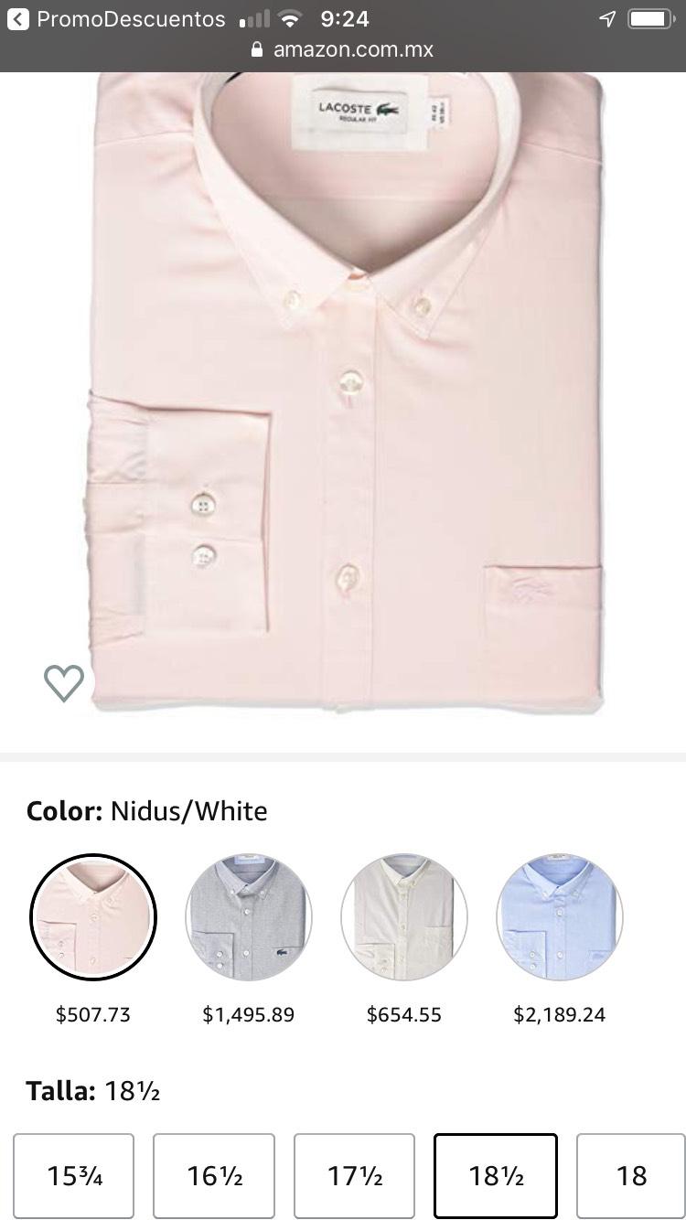 Amazon: Lacoste Camisa Tejida para Hombre L/S con Cuello de botón, Corte Regular talla 18 y 18 y medio