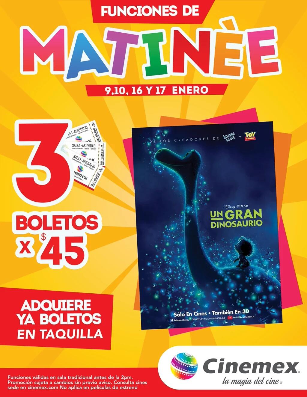 Cinemex: 3 boletos para matineé de un gran dinosaurio por $45
