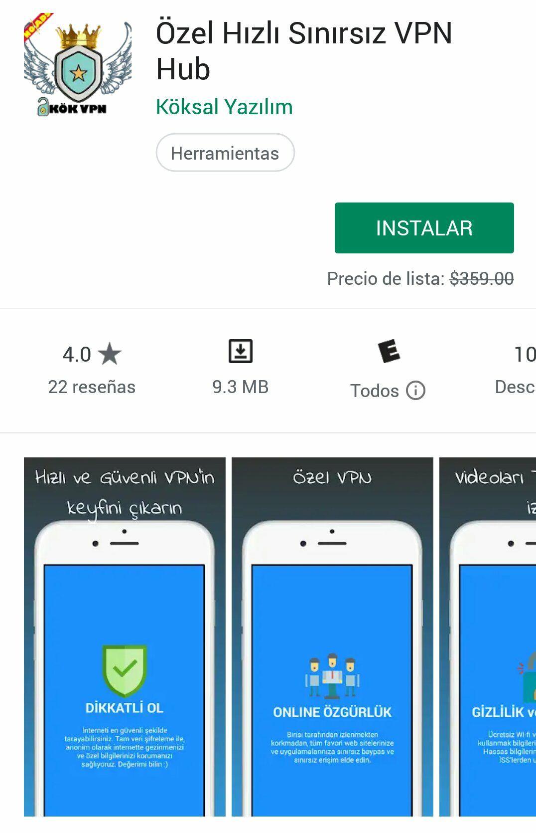 Google Play: App VPN de $359 a $0