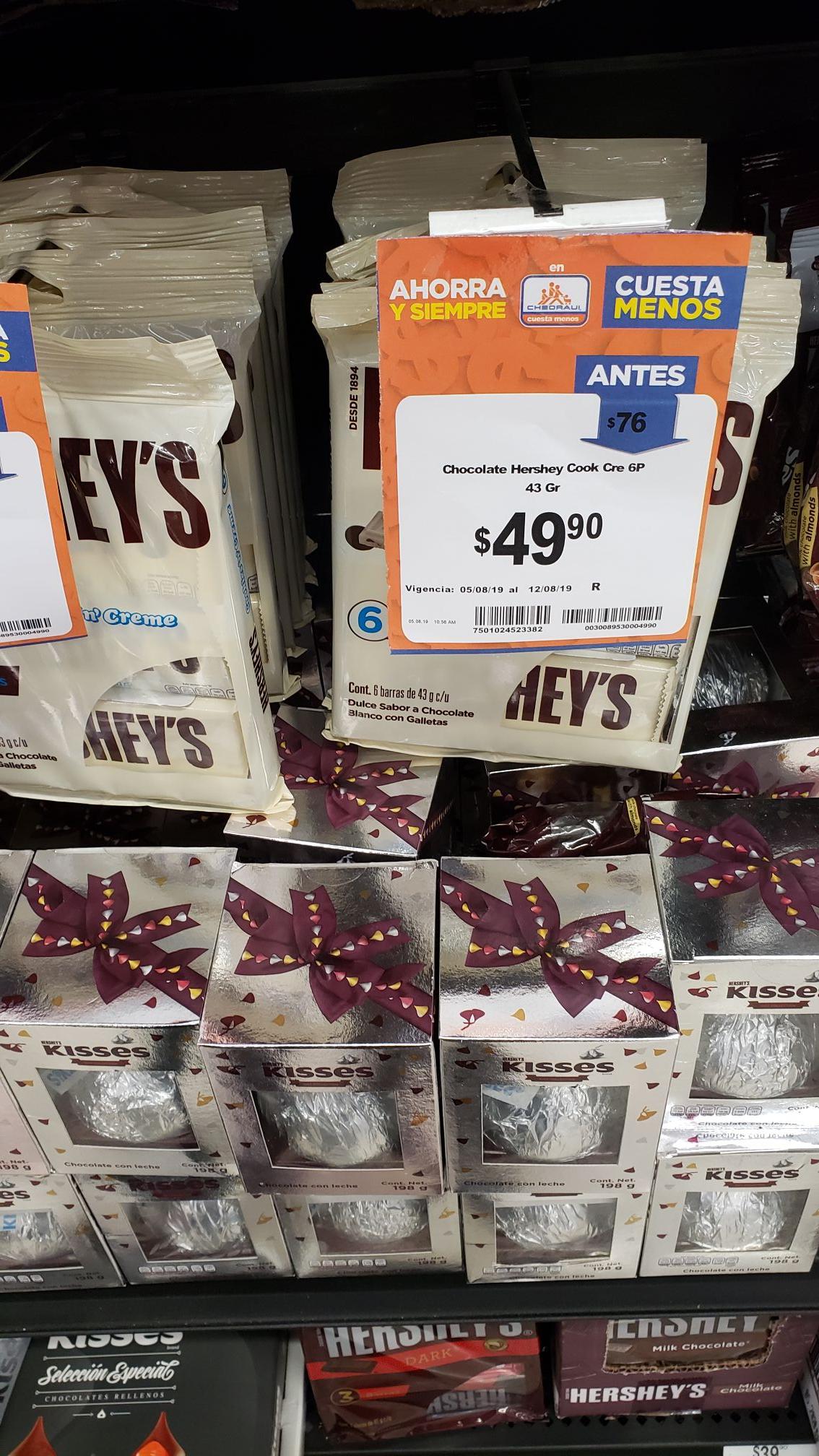 Chedraui: HERSHEY'S CHOCOLATES ( de los grandes), 6 POR 49.90.