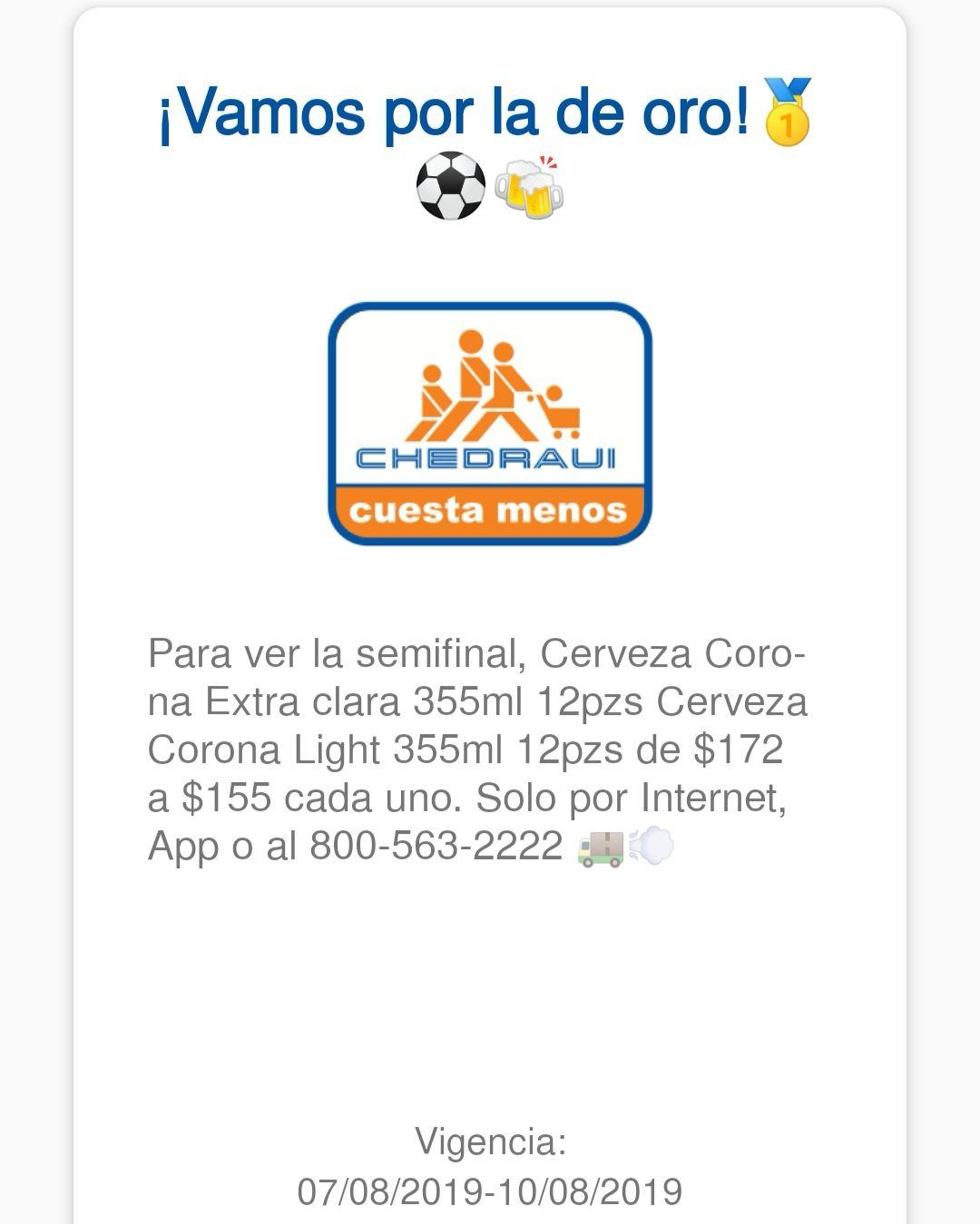 Chedraui: Cerveza Corona extra clara o light 12pzs en $155