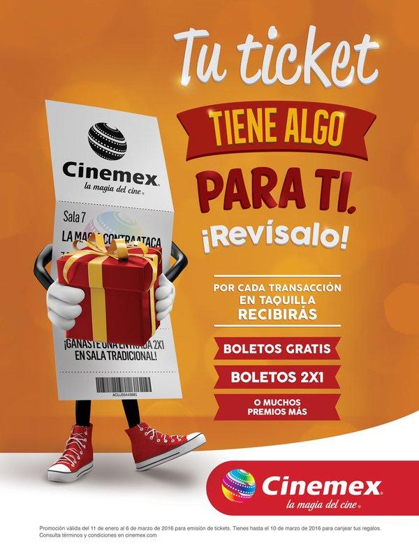 CINEMEX. Premios en los tickets de compra.