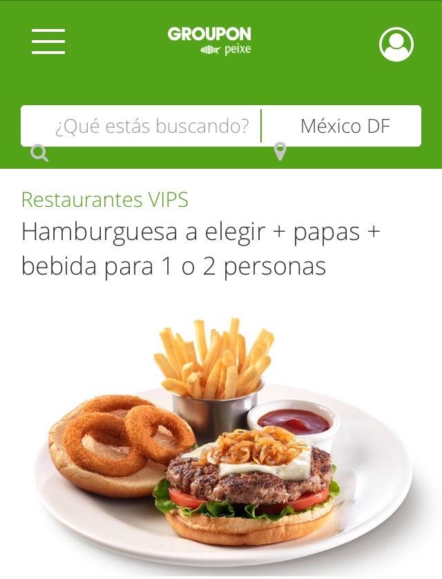 Groupon: Vips, Hamburguesa, papas, bebida 1 persona
