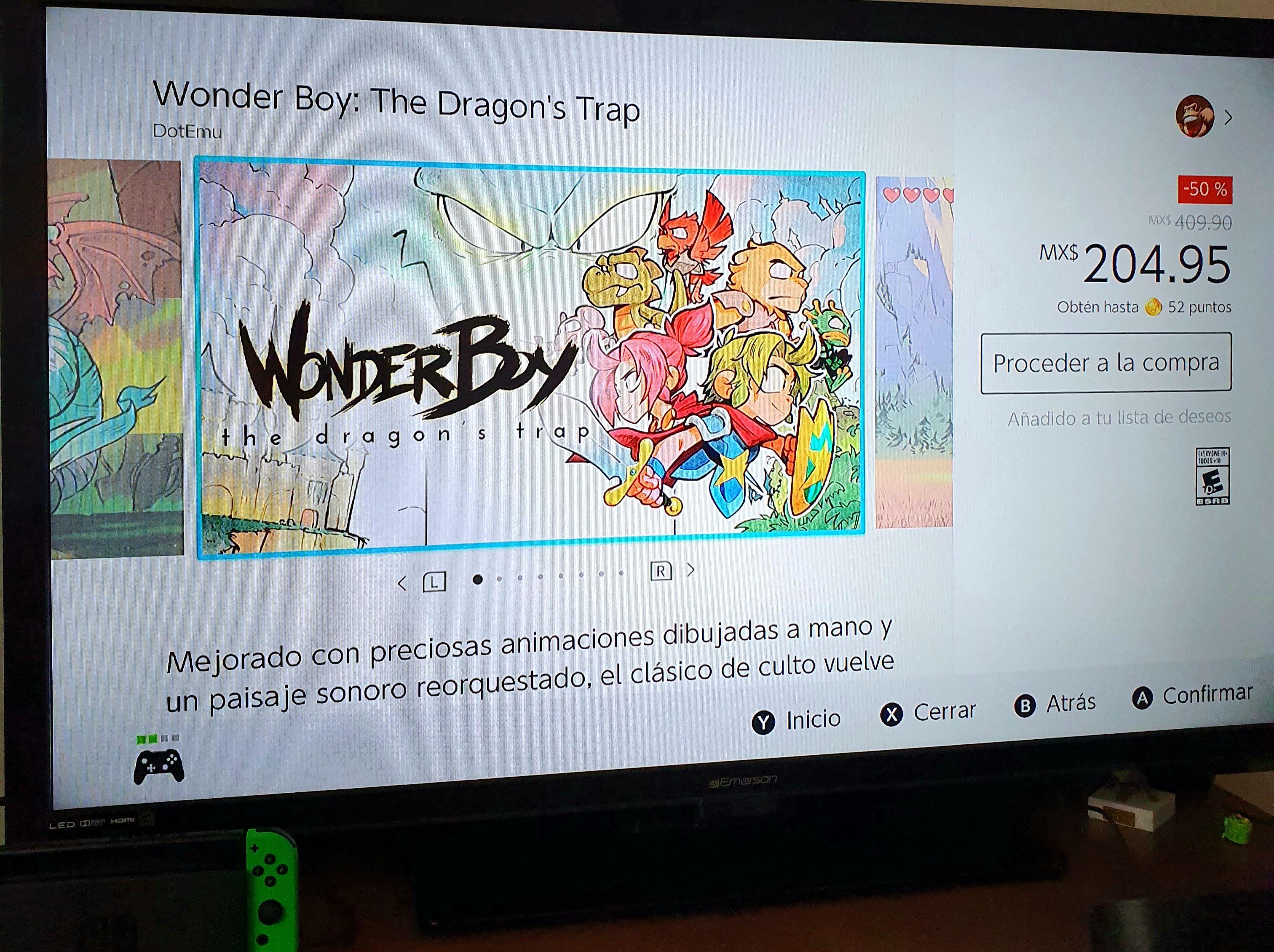 Nintendo eShop: Wonder Boy The dragon's trap