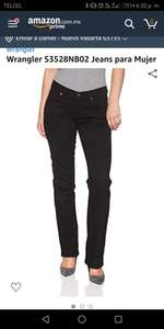 Amazon: Wrangler 53528NB02 Jeans para Mujer, Color Negro, talla 01