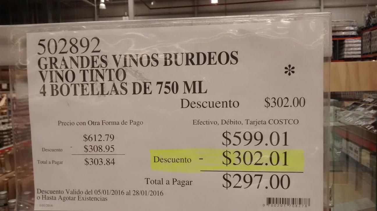Costco: Caja 4 vinos tintos a mitad de precio