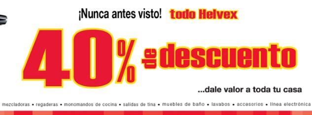 Helvex: 40% de descuento en todo (artículos de baño)