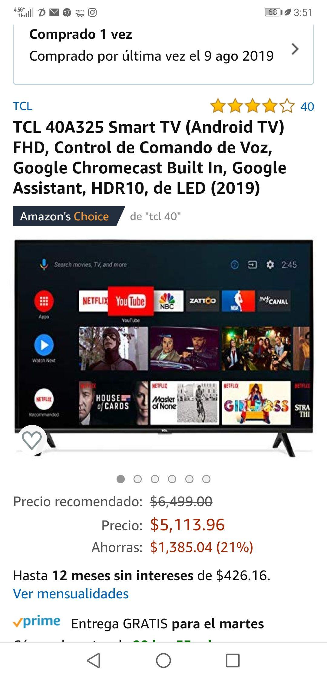 Amazon: TCL 40A325 Smart TV (Android TV) FHD, Control de Comando de Voz, Google Chromecast Built In, Google Assistant, HDR10, de LED (2019)