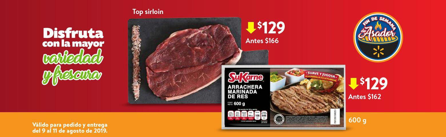 Walmart: Fin de Semana de Asador: Top Sirloin $129.00 kg... Arrachera Marinada de Res SuKarne 600 g $129.00 pza.