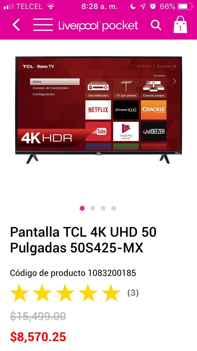 """liverpool Pantalla TCL 50"""" modelo 50S425"""