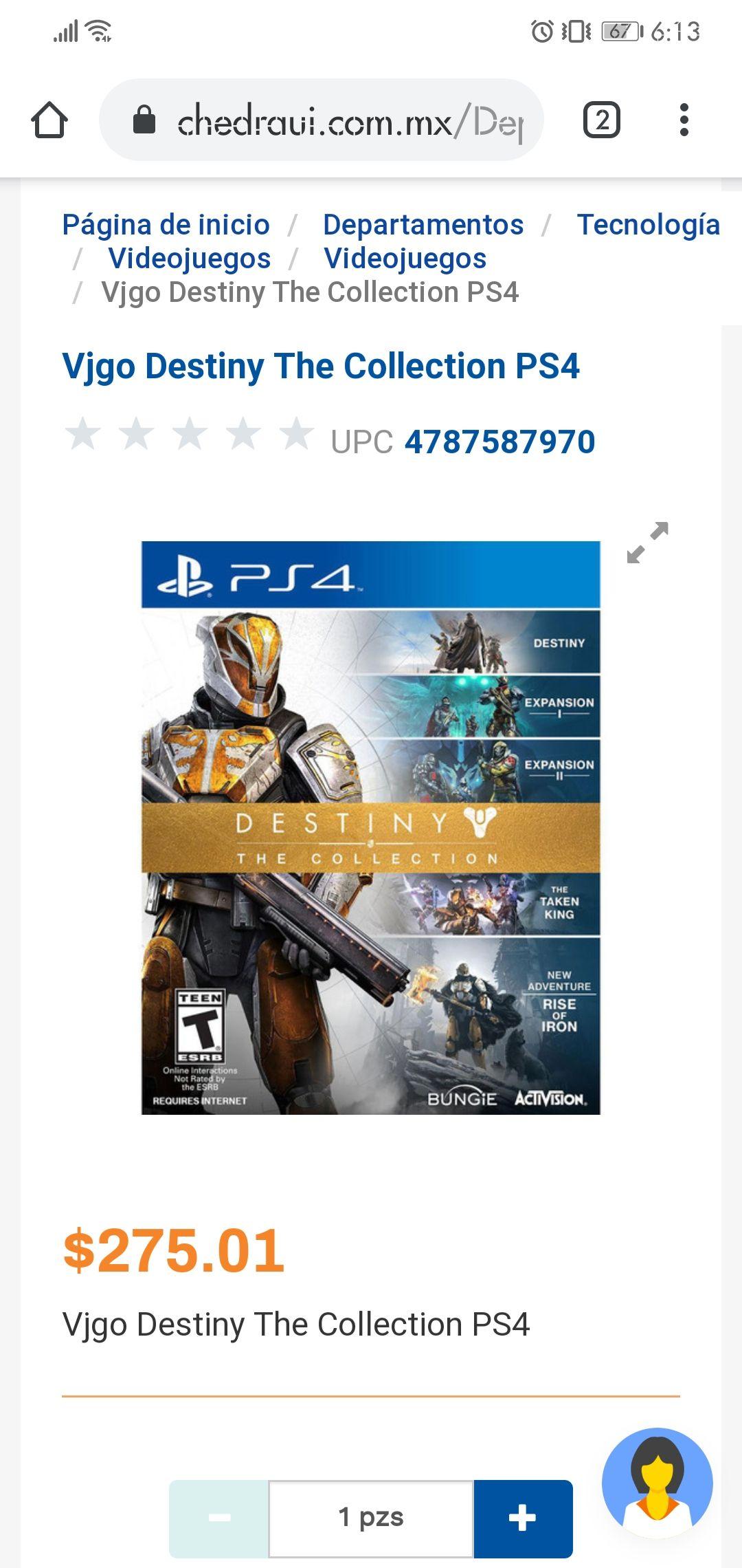 Chedraui en línea: Destiny para Ps4.