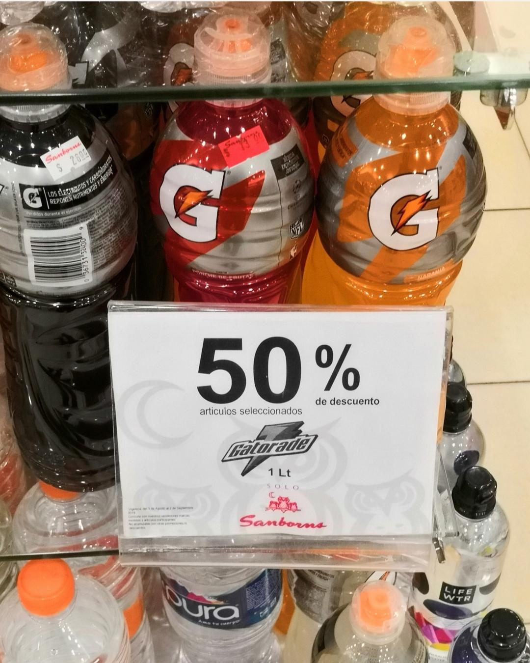 Sanborns: Gatorade 1 litro  A 13 pesos