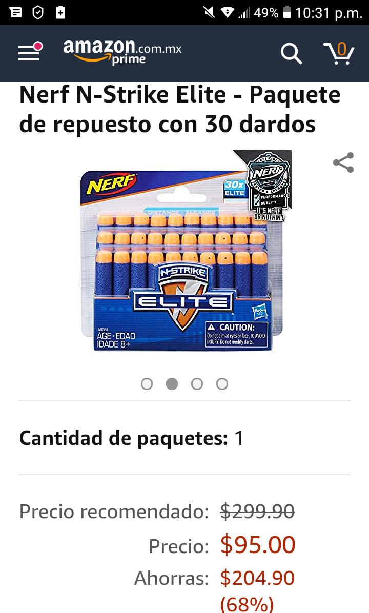 Amazon: Nerf N-Strike Elite - Paquete de repuesto con 30 dardos