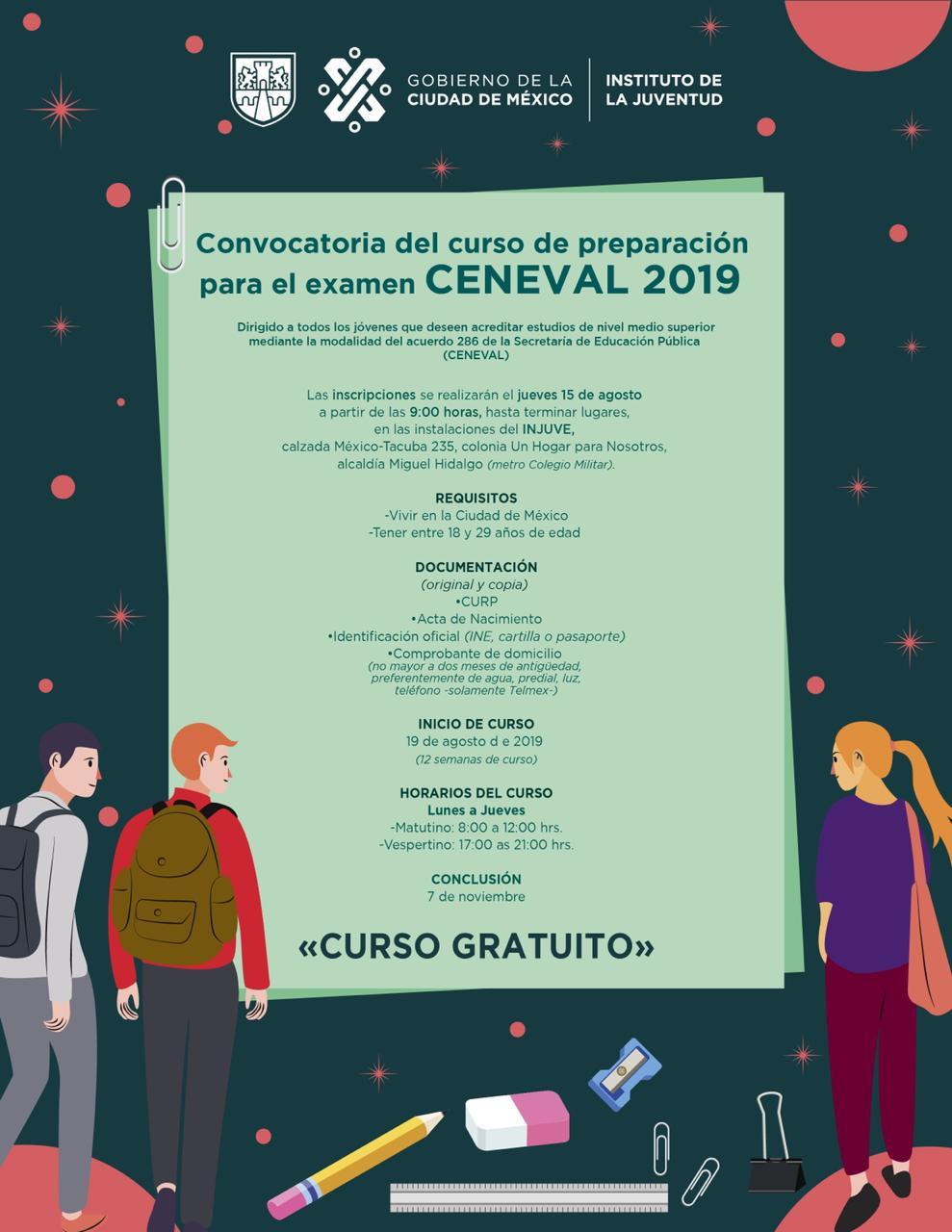 INJUVE: Curso de 12 Semanas Gratis de Preparación Para el Examen CENEVAL (CDMX)
