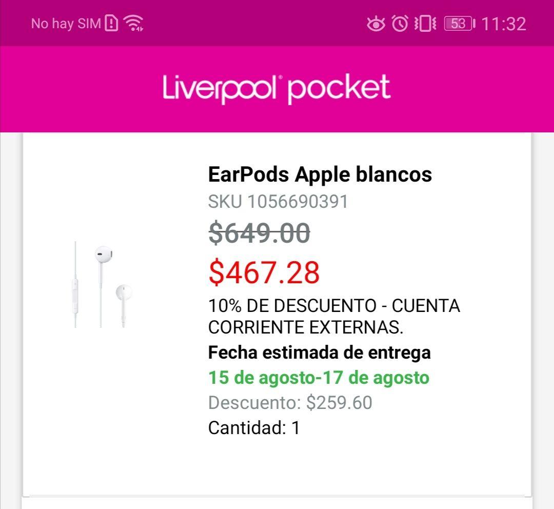 Liverpool: Apple Earpods 3.5mm  con precio de hace 2 o 3 años
