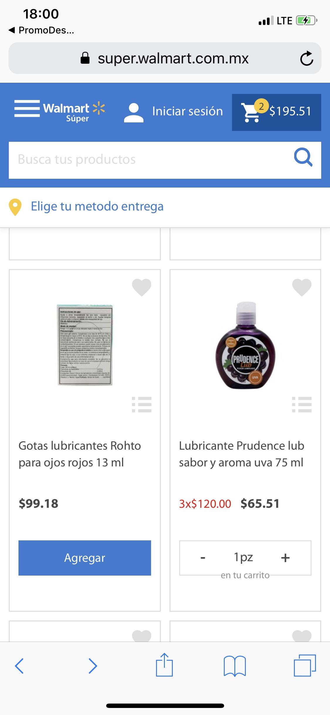 Walmart Súper: Lubricante Prudence a 3x$120