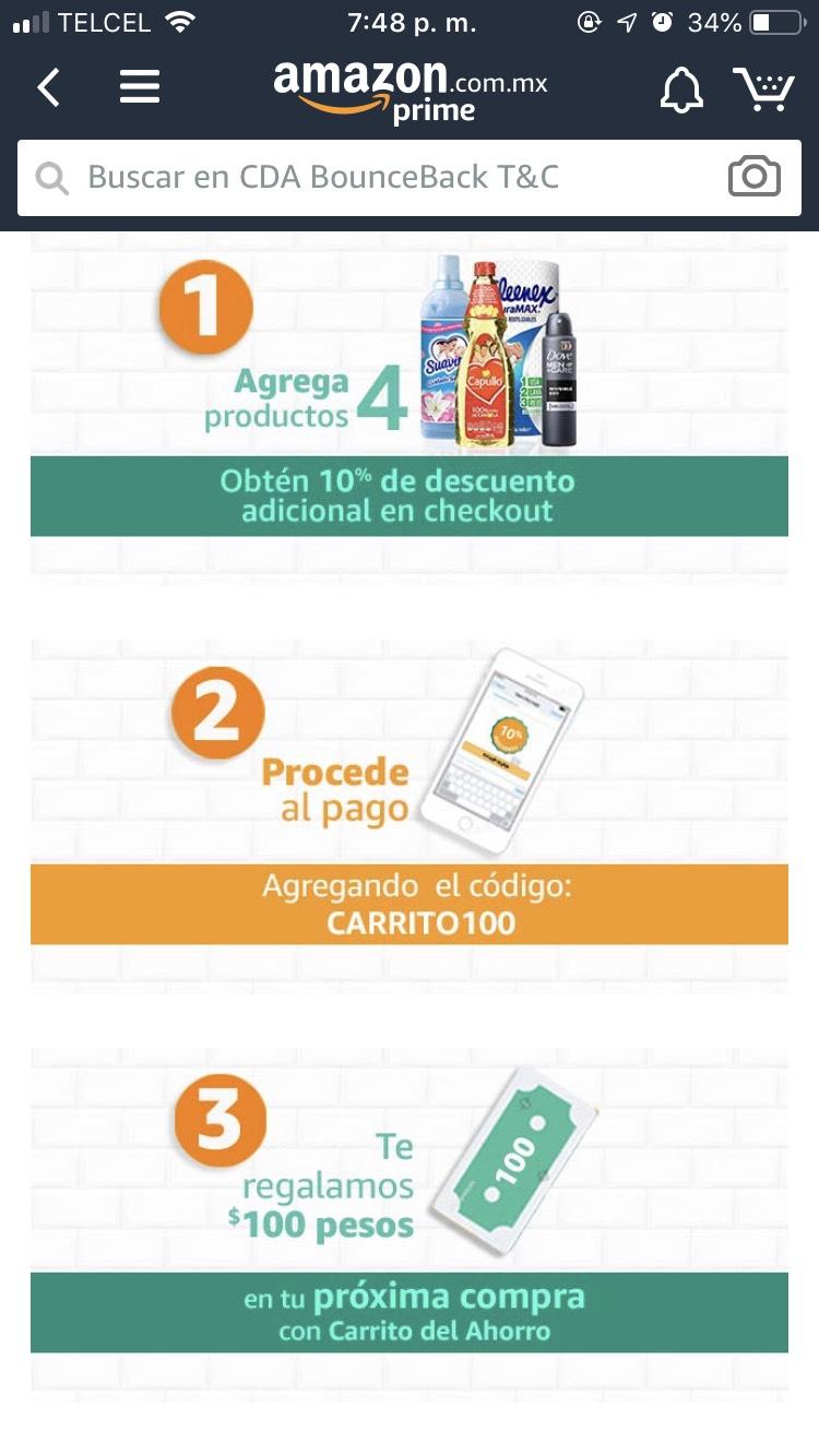 Amazon: $100 de descuento en carrito (solo aplica en la primera compra)