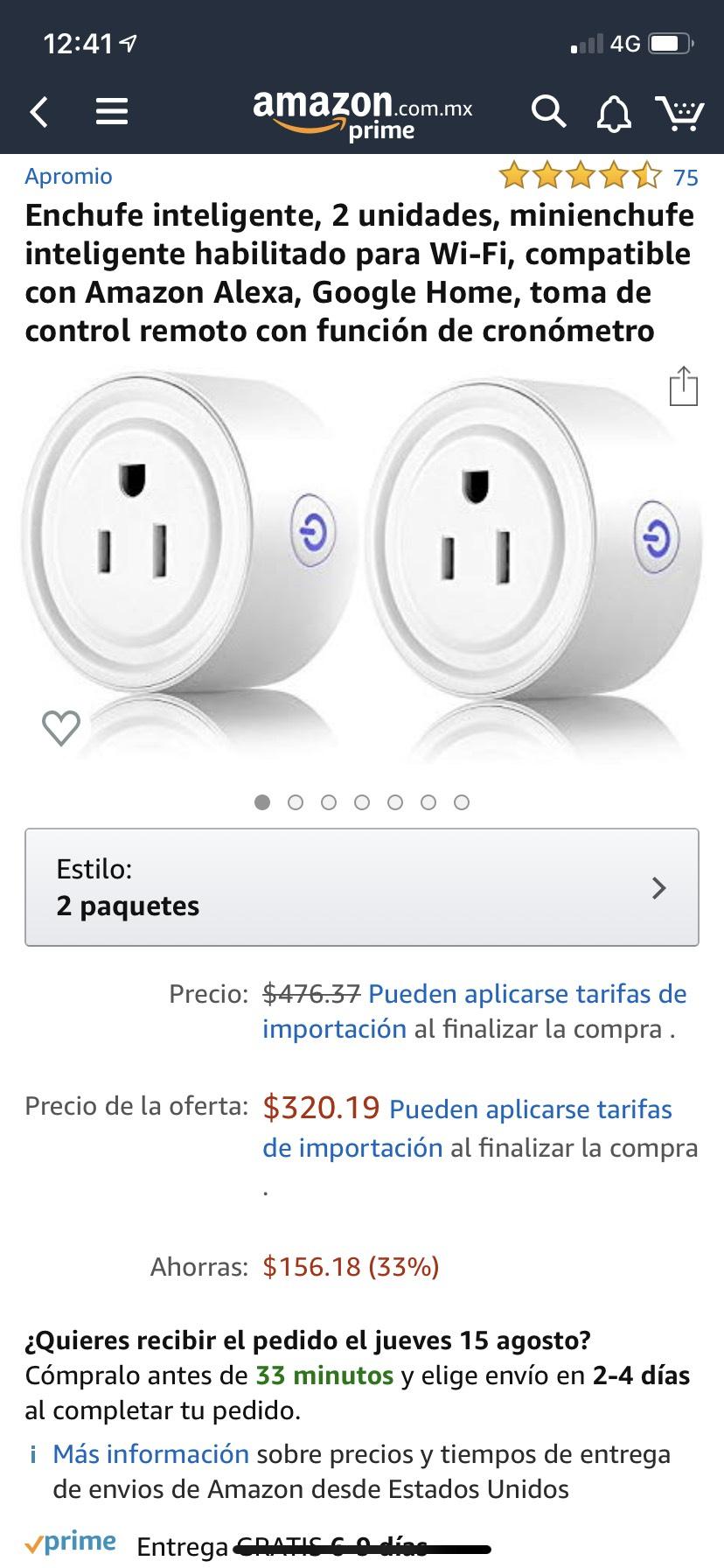 Amazon: Enchufe Inteligente 2pack