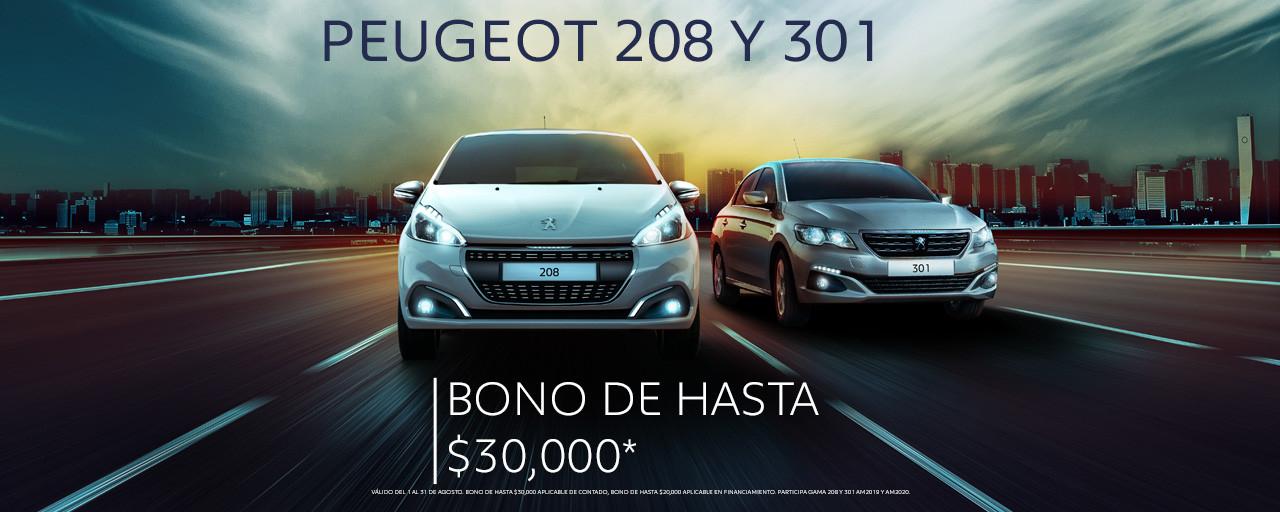 PEUGEOT 208 Y 301 CON 30,000 DE DESCUENTO