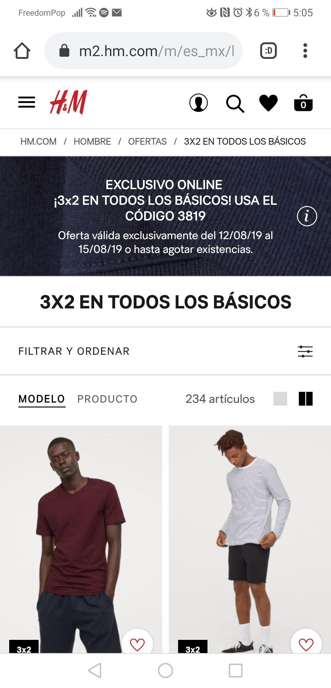 H&M en línea: 3 x 2 en ropa