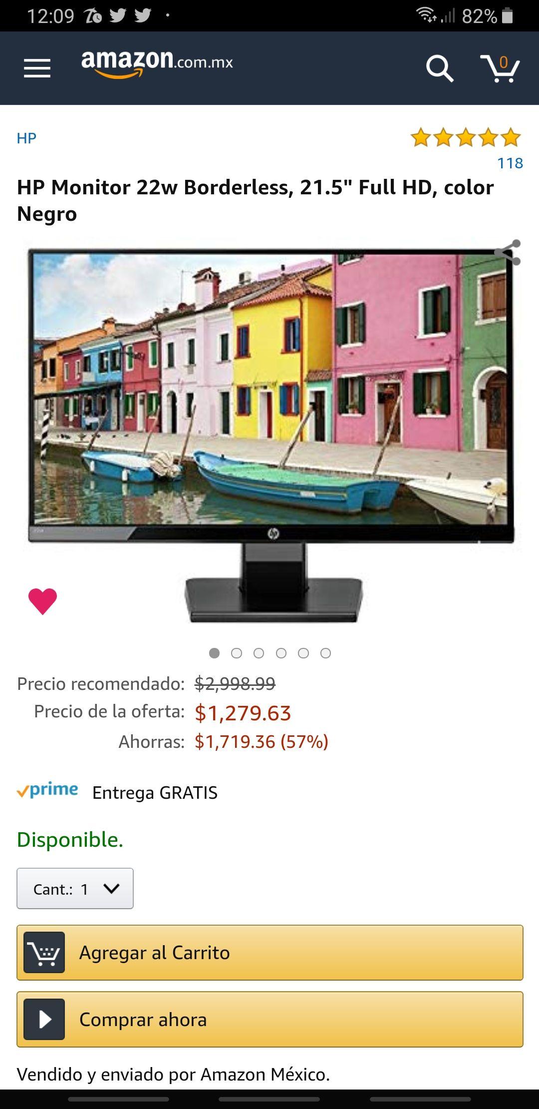 Amazon: Monitor HP 20W borderless de nuevo en oferta.