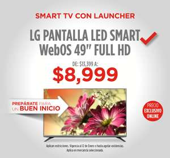 "Elektra: Pantalla LG LED Smart WebOS 49"" Full HD en $8,099 con descuento de 33% + cupón"