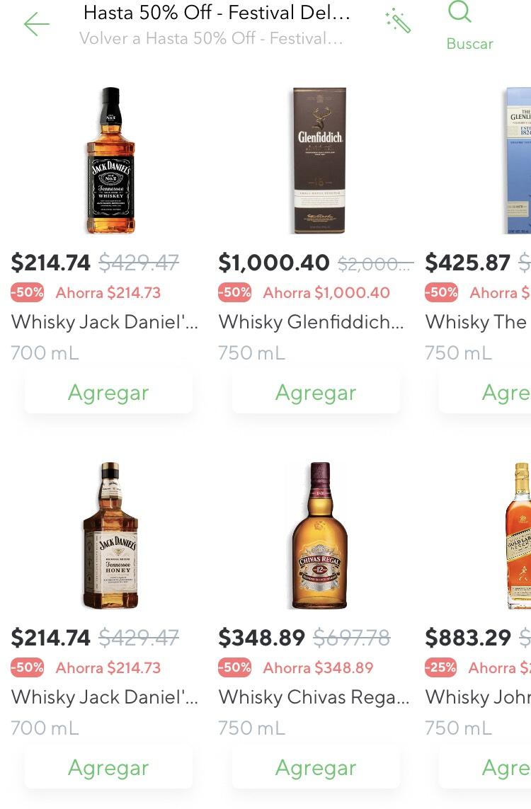 Rappi: festival del Whisky hasta 50% off en la EUROPEA