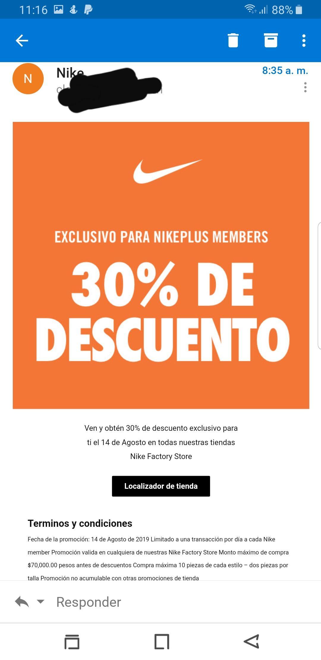 Nike factory store: 30% de descuento por ser nike member
