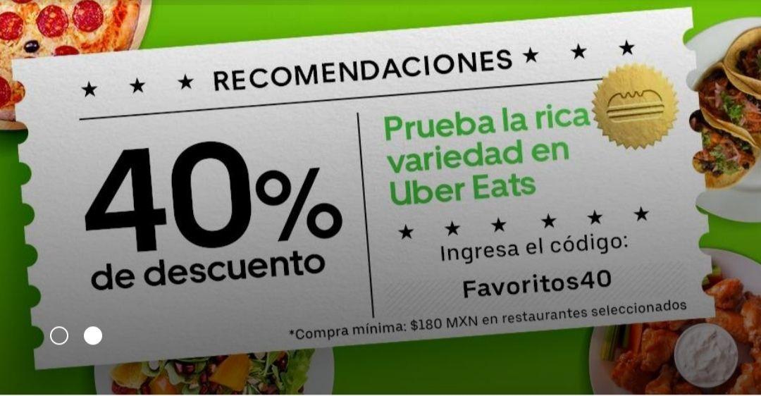 UberEats: 40% de descuento en restaurantes participantes