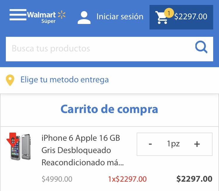 Walmart: iPhone 6 reacondicionado +  funda cargador