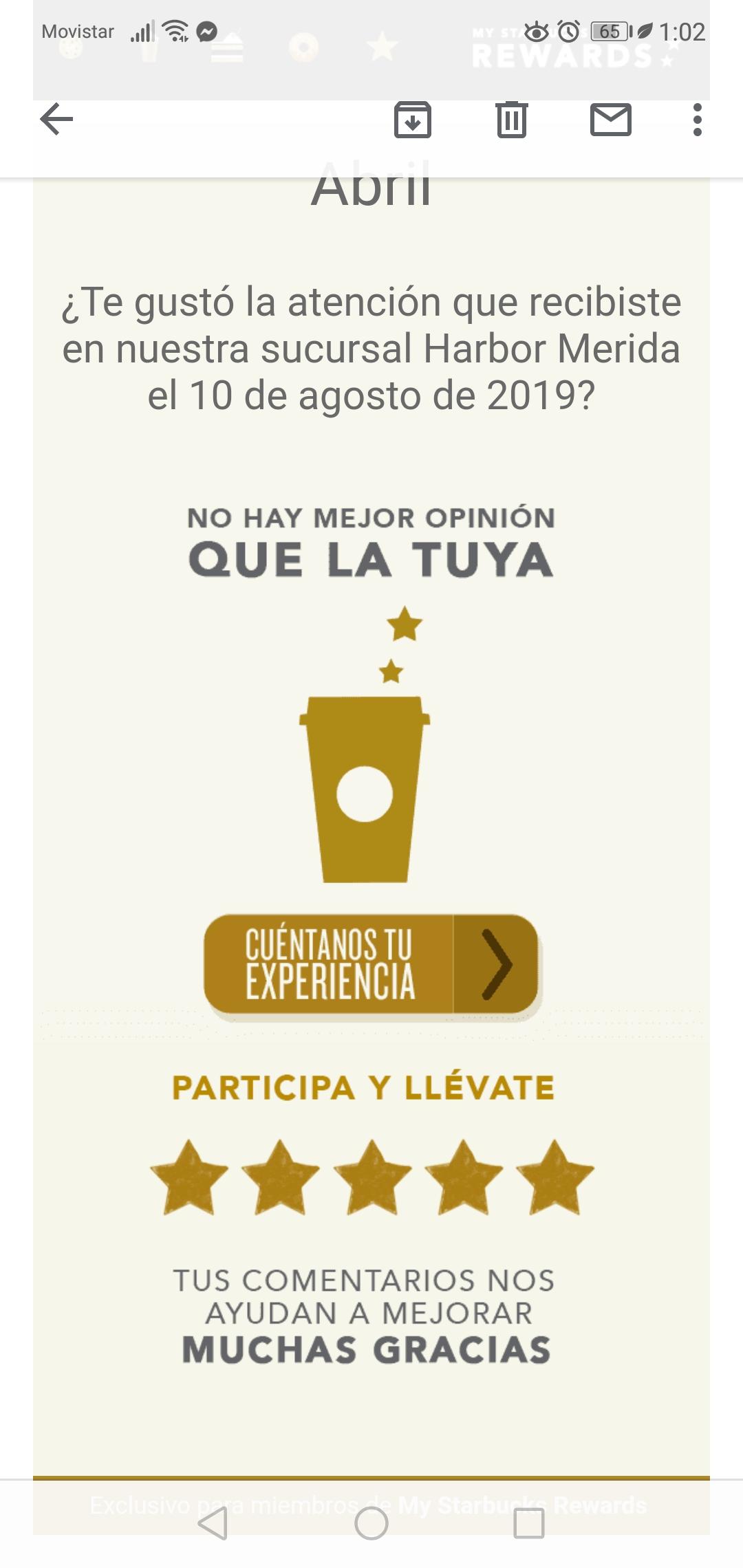 Starbucks: Contesta encuesta y recibe 5 stars