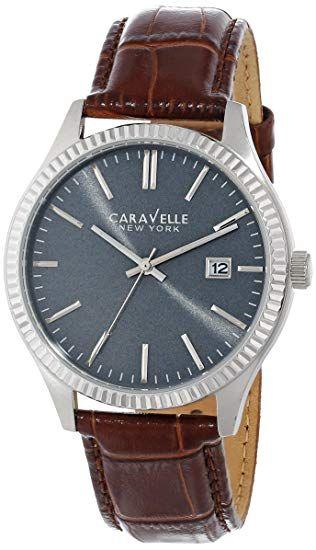 Amazon USA: Caravelle New York de los hombres 43b132Analog Display café Reloj de cuarzo japonés