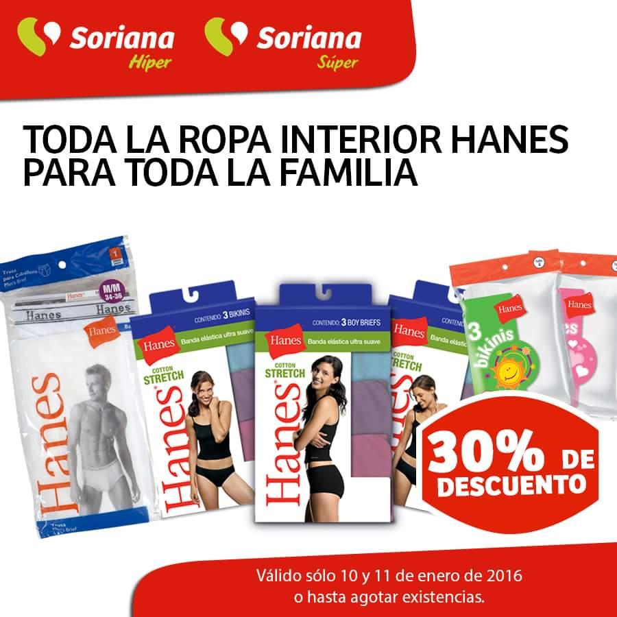 Soriana: 30% de descuento en ropa interior Hanes
