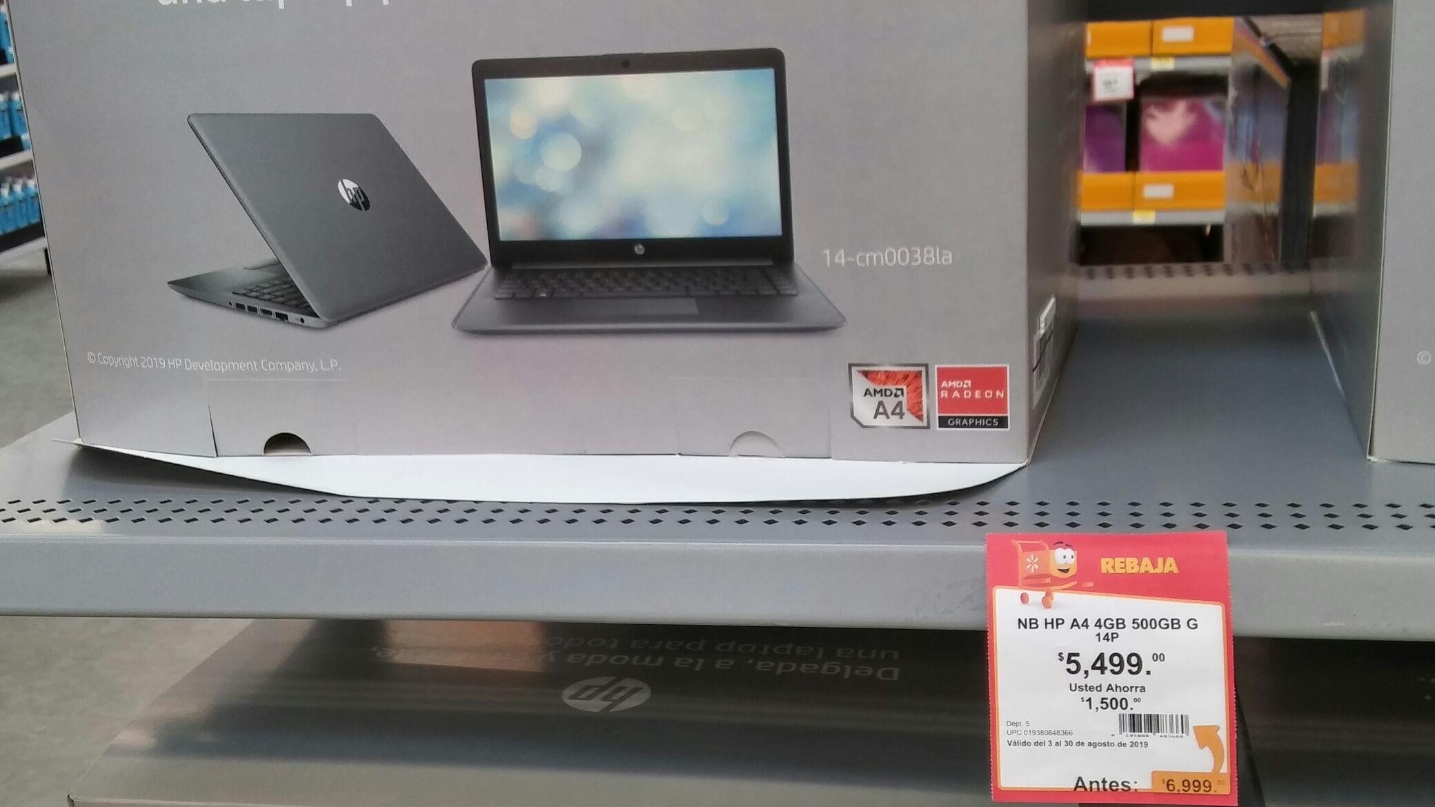 Walmart: Laptop HP, AMD A4, 500Gb, 4 de Ram