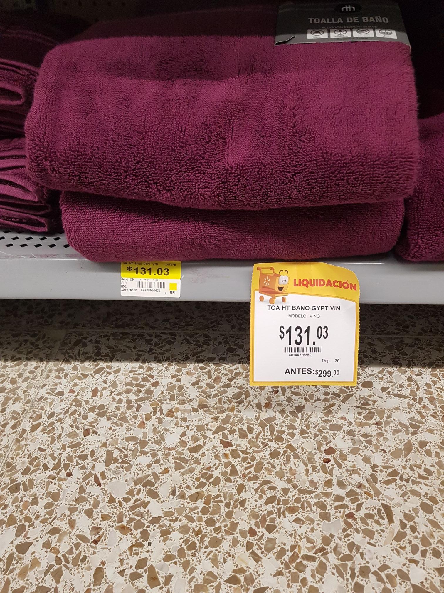Walmart: Toalla de Baño. Home Trends. Liquidación.