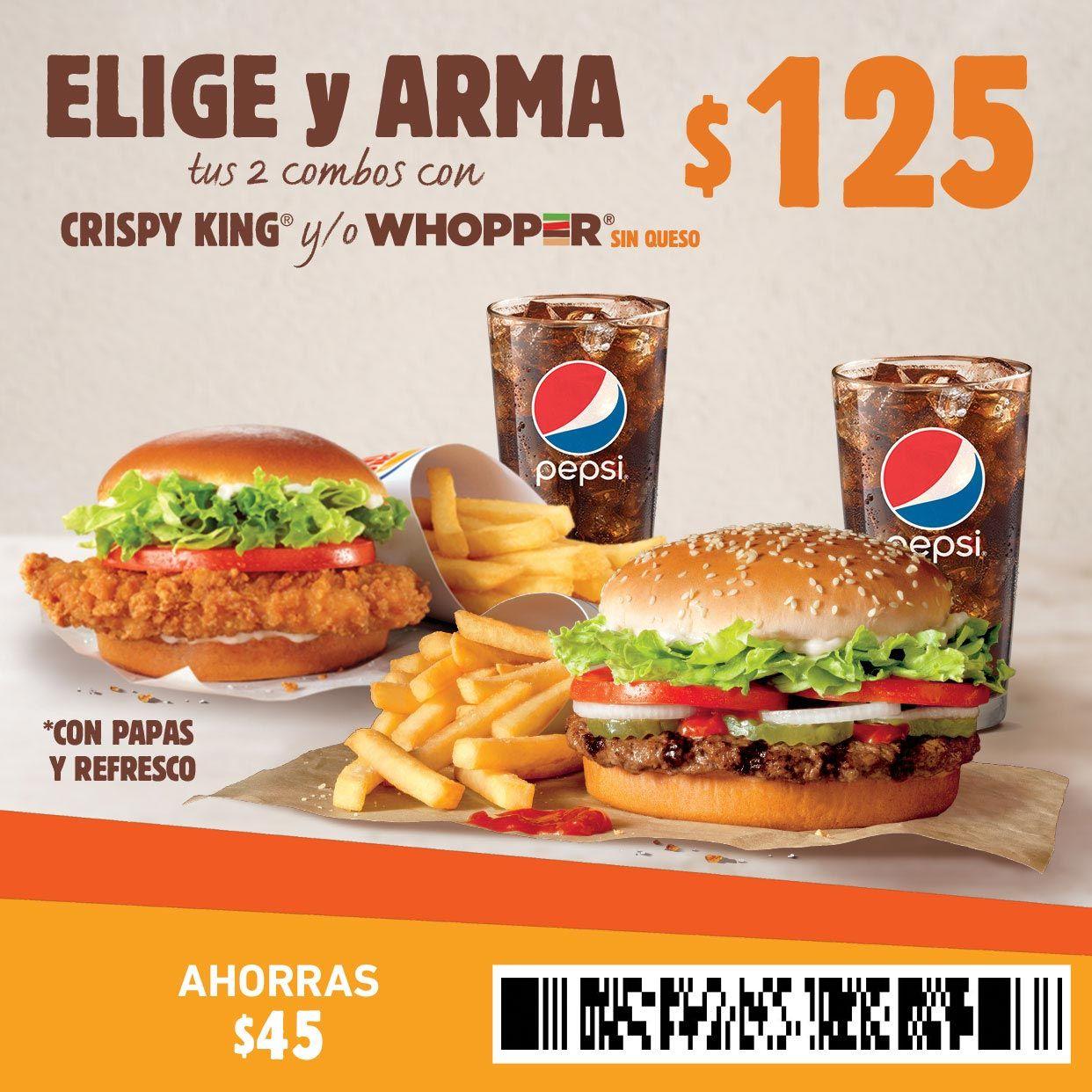 Burguer King: Combo Crispy King o Whooper ($45  de descuento)