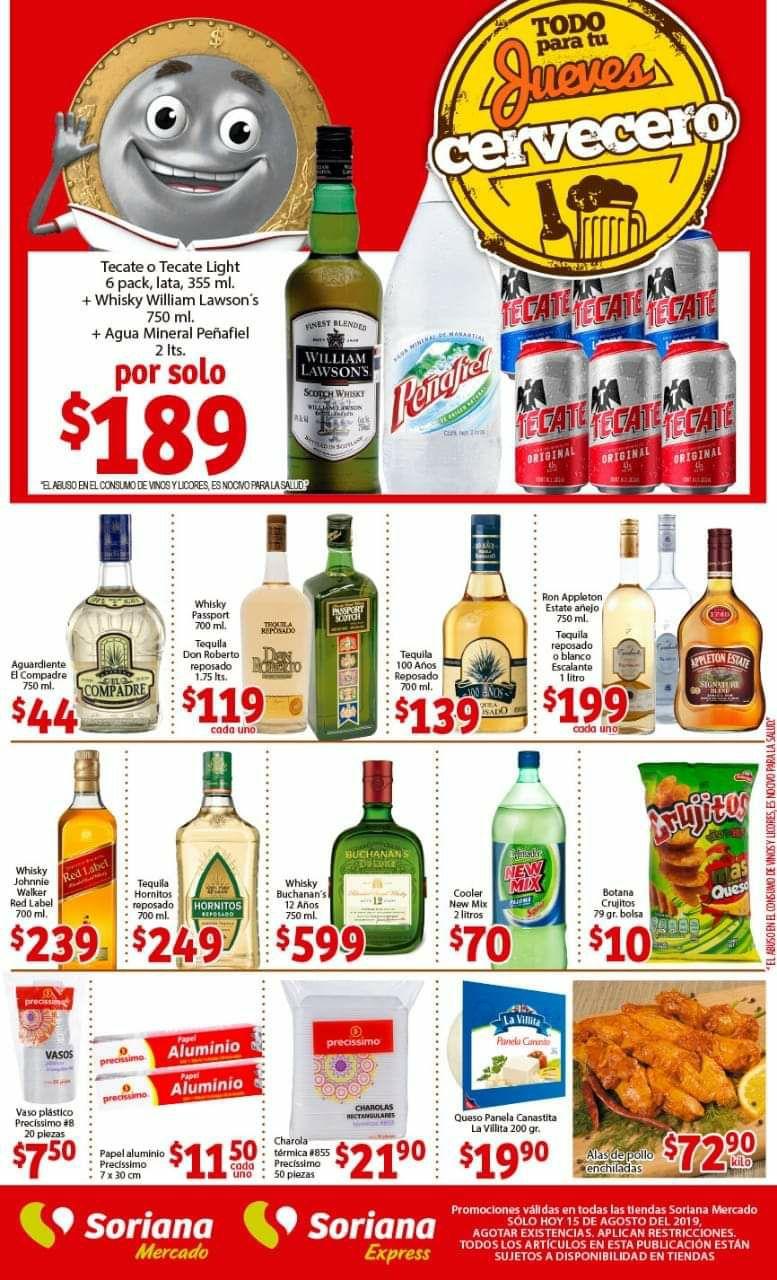Soriana Mercado y Express: Jueves Cervecero 15 de Agosto