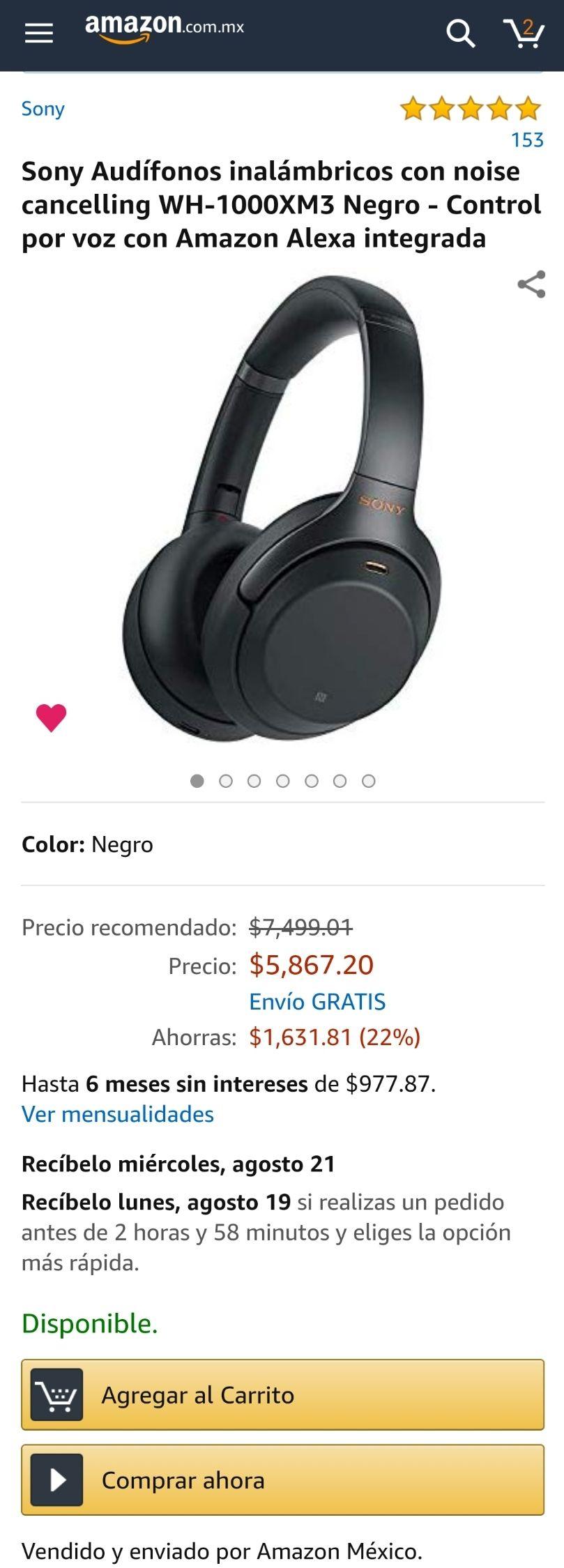 Amazon: Sony Audífonos inalámbricos WH-1000XM3