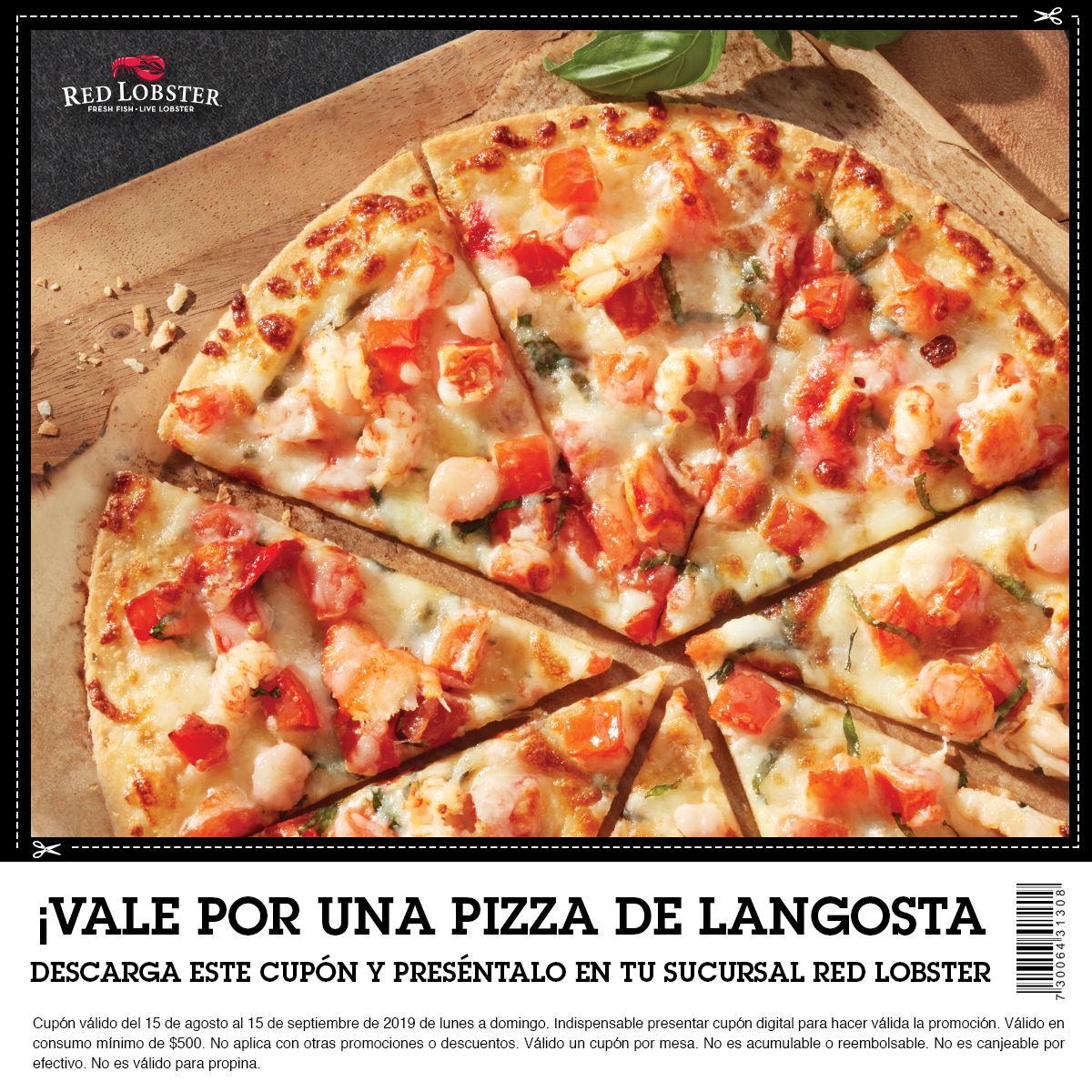 Red Lobster: Pizza gratis de Langosta con consumo de $500