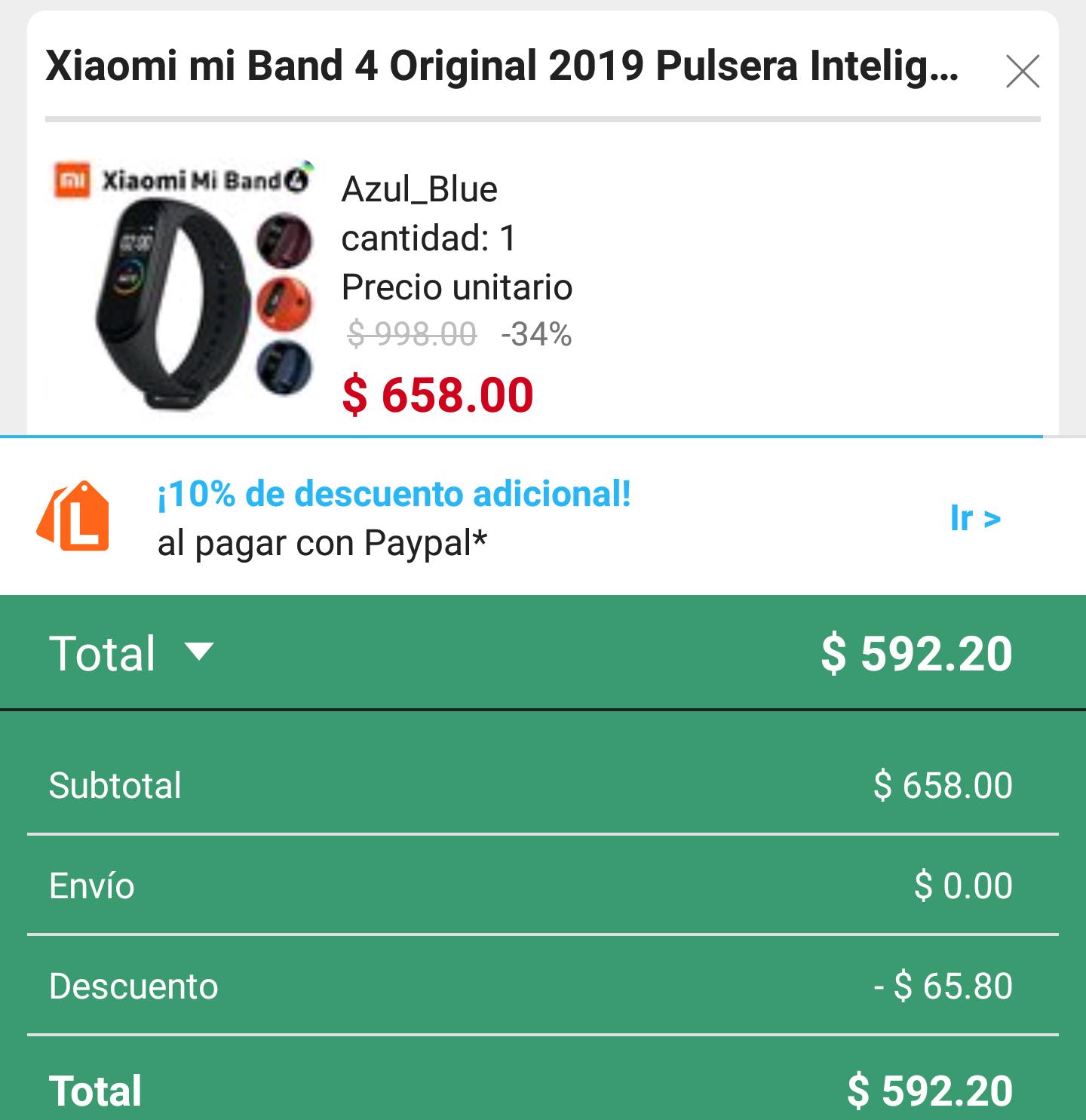 Linio: Xiaomi Mi Band 4 (comprando en app con cupon)
